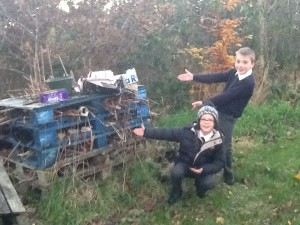 Rory (P7) & Joel (P5) show Iris from Baglady Productions their mini beast mansion.
